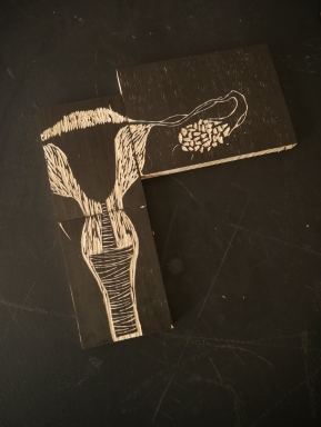 Plancha de xilografia, Uxia Treitas.