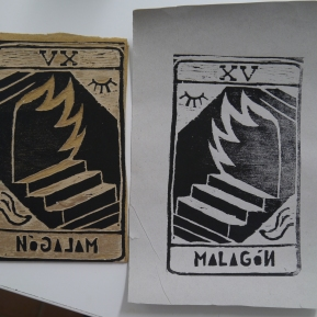 Alba Mezcua's plates and prints. Planchas y grabados de Alba Mezcua.